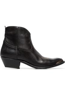 Golden Goose Ankle Boot 'Young' De Couro - A1 Black Leather