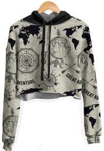 Blusa Cropped Moletom Feminina Expansão Marítima Md01