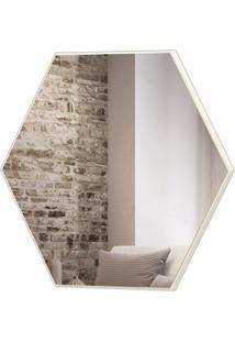 Espelho Hexagono Logus Grande Cor Off White Brilho 69 Cm (Larg) - 56528 - Sun House