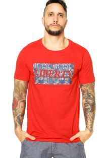 Camiseta Manga Curta Ride Skateboard Liberty Roses Vermelha