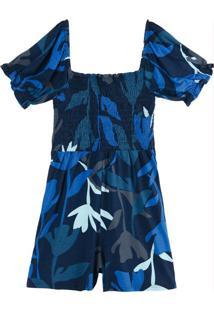 Macaquinho Azul Floral Em Viscose