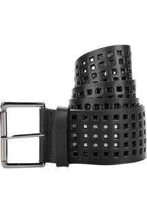 Cinto Couro Shoestock Lasercut Feminino - Feminino-Preto