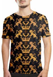 Camiseta Estampada Over Fame Leão Real Preta