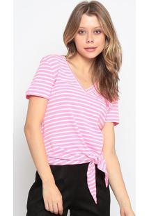 Blusa Listrada Com Amarraã§Ã£O - Rosa Neon & Off Whitechocoleite