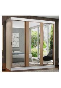 Guarda-Roupa Casal Madesa Reno 3 Portas De Correr De Espelho Branco/Rustic Branco
