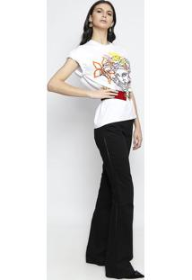 Camiseta Com Bordados Florais - Branca & Amarelaversace
