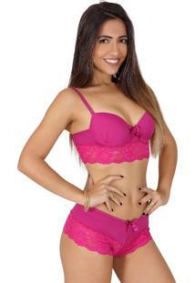 Conjunto Lingerie Ayron Fitness Rendado Pink