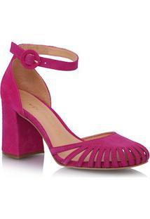 Sapato Bico Redondo Em Camurça Rosa