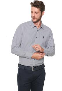 Camisa Aleatory Slim Listrada Branca/Azul
