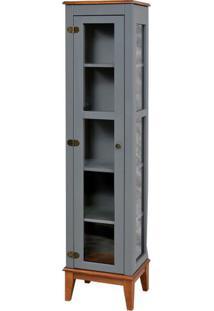Cristaleira Remy 1 Porta Cor Cinza Com Base Amêndoa 180 Cm - 60757 - Sun House