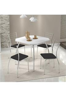 Conjunto Mesa 1504 Branca Cromada Com 4 Cadeiras 1700 Preta Carraro