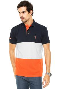 Camisa Polo Aleatory Listras Azul-Marinho/Laranja