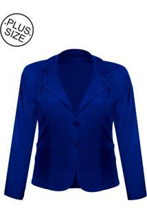 Blazer Outletdri Casaco Terno Terninho Social Plus Size Azul