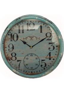Relógio De Parede Ferro Azul Envelhecido Oldway 33X33X6