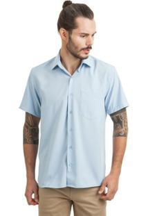 Camisa Di Sotti Microfibra Manga Curta Azul Claro - Masculino