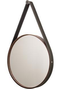 Espelho Redondo Com Moldura E Cinta De Couro 56Cm Imbuia