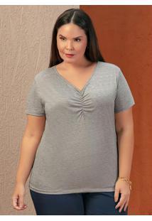 Blusa Mescla Com Franzido Na Frente Plus Size