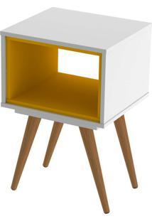 Mesa Lateral Retrô 40 Branco E Amarelo Olivar