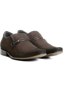 Sapato Casual Couro Pegada Textura Masculino - Masculino-Café