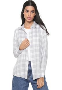 Camisa Banana Republic Ls Dillon Flannel Johanna Plaid Cinza/Branca