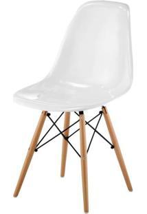 Cadeira Eames Policarbonato Branca Off White Base Madeira 17886 Sun House
