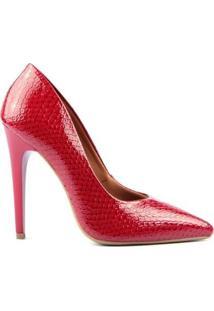 Scarpin Casual Estampado Ellas Online Feminino - Feminino-Vermelho