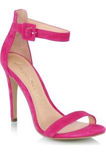 Sandália Salto Alto Em Camurça Rosa