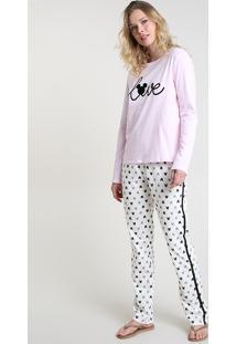 Pijama Feminino Mickey Manga Longa Rosa