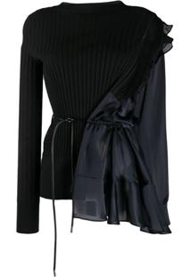 Sacai Asymmetric Long-Sleeve Blouse - Preto