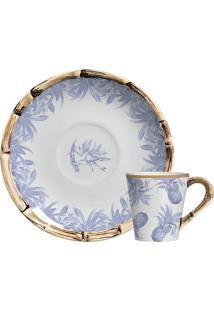 Xícara De Café De Cerâmica Abacaxi Maison Blanche Azul 100Ml - 28248