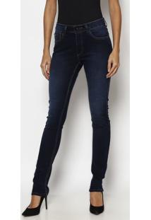Jeans Skinny Com Pespontos - Azul Escuro- Tuaregtuareg
