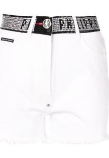 Philipp Plein Stud-Detail Denim Shorts - Branco
