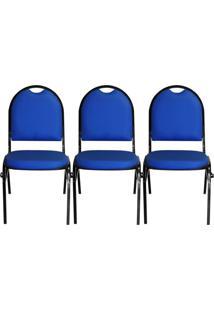 Kit 03 Cadeiras Pethiflex Essencial Hot Fixável Couro Azul