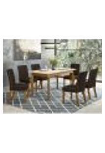 Mesa De Jantar Ghala 160Cm 6 Cadeiras Maris - Nature/Off White/Marrom