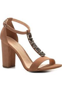 Sandália Couro Shoestock Salto Grosso Pedraria Feminina - Feminino-Nude