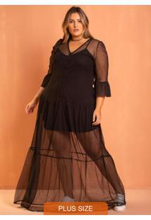 Vestido Longo Tule Preto