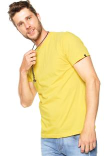 Camiseta Fiveblu Manga Curta Basic Colors Decote V Amarelo