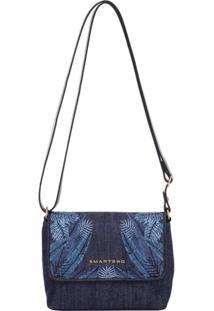 ... Bolsinha Smartbag Transversal Folhas - Feminino-Azul bf81991299d