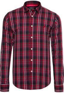 Camisa Masculina Leni Xadrez - Vermelho