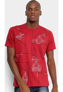 Camiseta Gangster Geométrica Masculina - Masculino-Vermelho