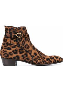 Lidfort Ankle Boot Cavallino Com Estampa De Leopardo - Marrom