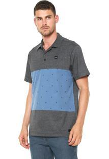 ... Camisa Polo Oakley Reta Skull Cinza Azul 67ca33f9313