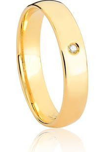 Aliança De Ouro 18K Abaulada Anatômica Com Diamante-Alianças Exclusivas Coliseu(4,00Mm)