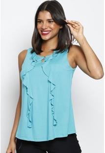 Blusa Com Bordado- Azul Turquesa- Maclumaclu