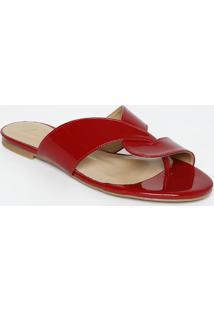Sandália Rasteira Com Tiras - Vermelho Escuroluiza Barcelos