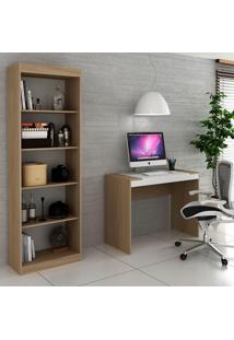 Escrivaninha E Estante Para Escritório-Ho-2951-Hecol - Avela / Branco