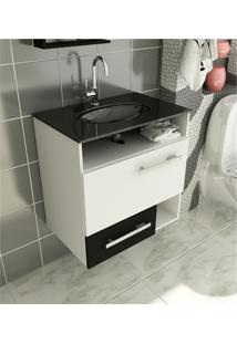 Gabinete Para Banheiro 60 Cm Com 2 Peças Linea 17 Branco E Preto Tomdo