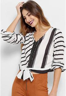 Camisa Acostamento Fashion Feminina - Feminino-Preto+Branco