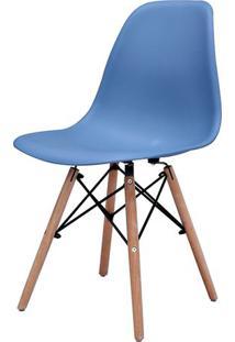 Cadeira Eames Eiffel Polipropileno Azul Bali Base Madeira - 44157 - Sun House