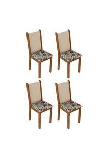 Kit 4 Cadeiras 4291 Madesa Rustic/Crema/Hibiscos Marrom